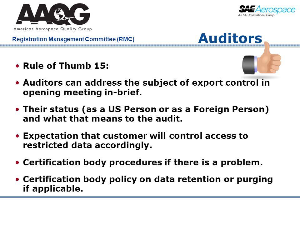Auditors Rule of Thumb 15: