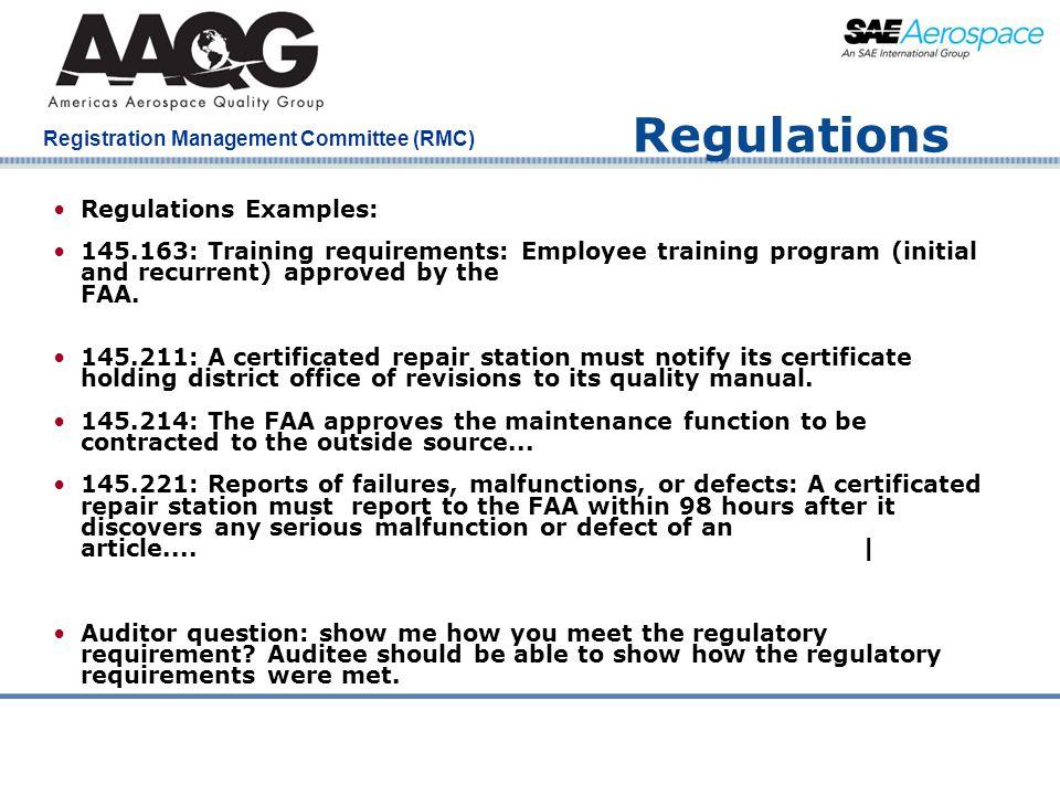 Regulations Regulations Examples: