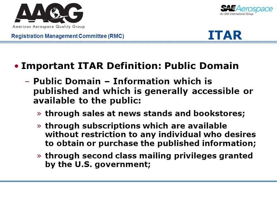 ITAR Important ITAR Definition: Public Domain