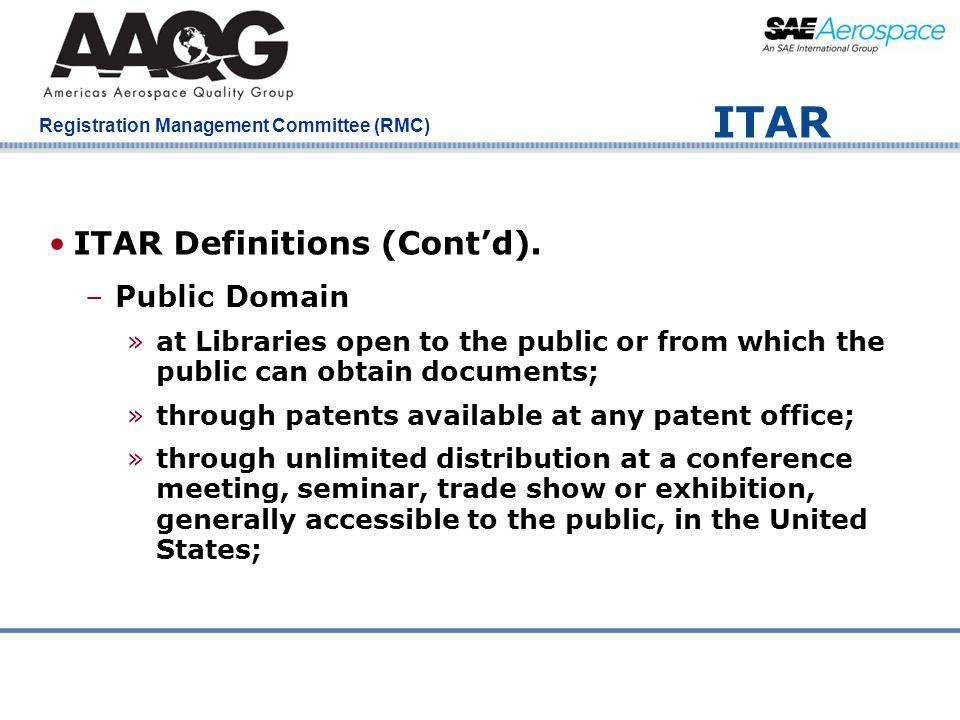 ITAR ITAR Definitions (Cont'd). Public Domain