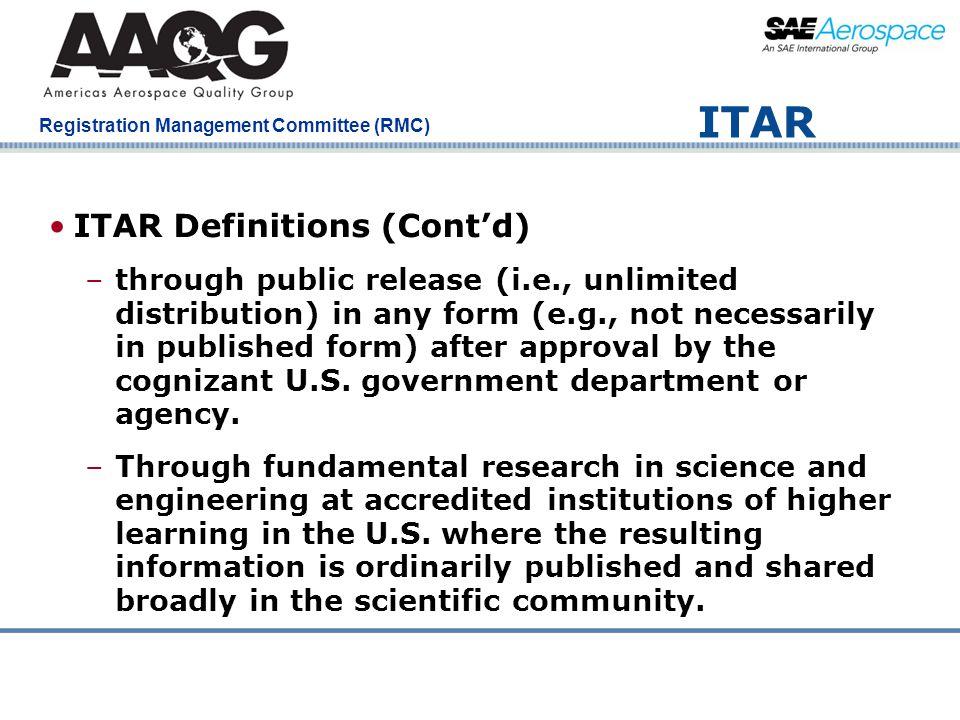 ITAR ITAR Definitions (Cont'd)
