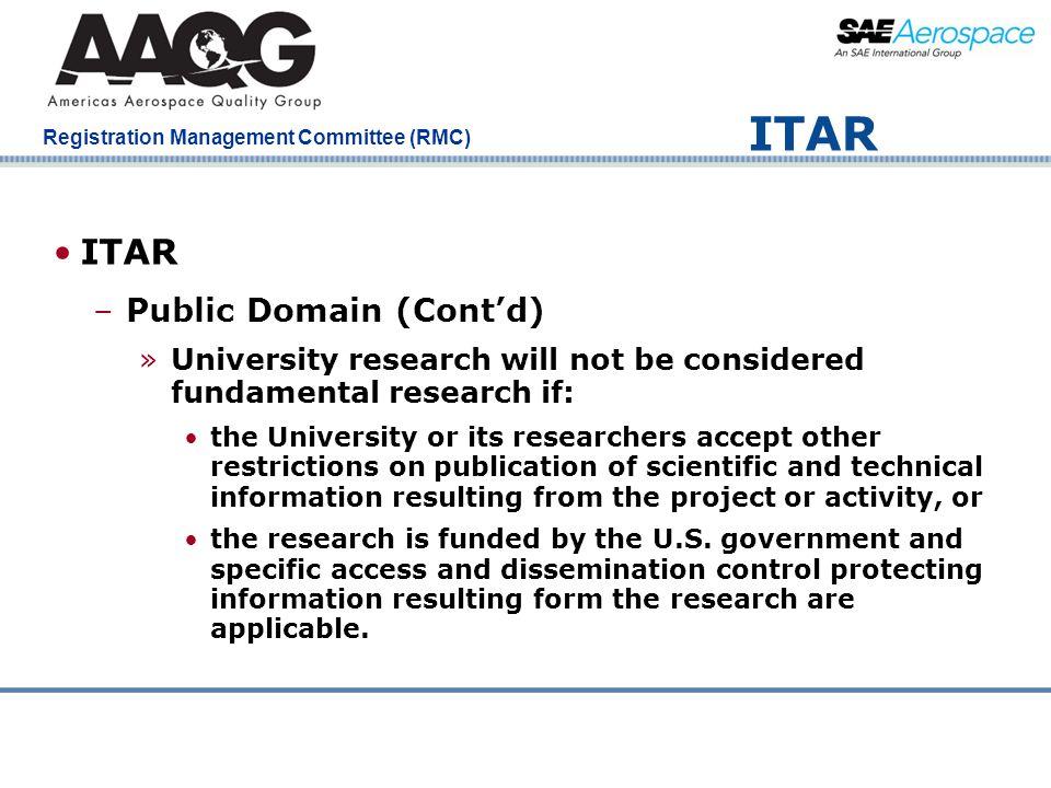 ITAR ITAR Public Domain (Cont'd)