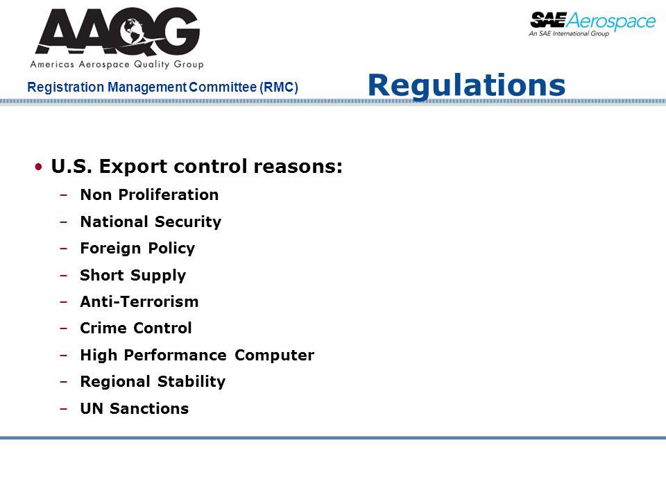 Regulations U.S. Export control reasons: Non Proliferation