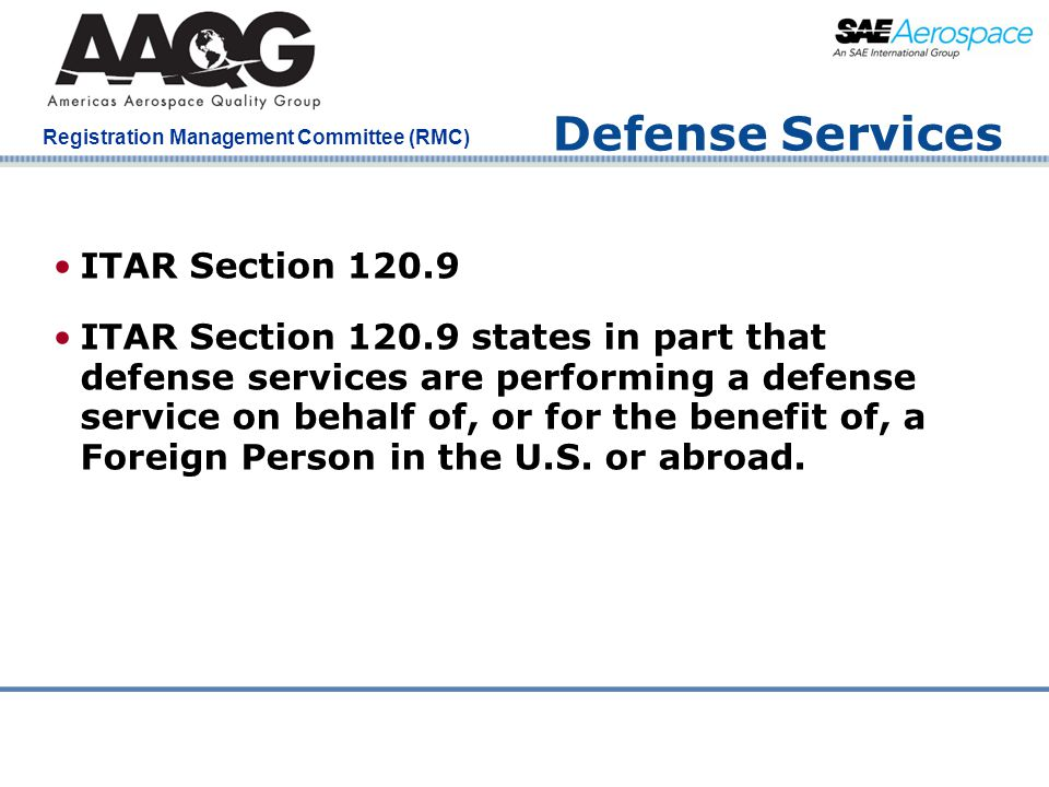 Defense Services ITAR Section 120.9