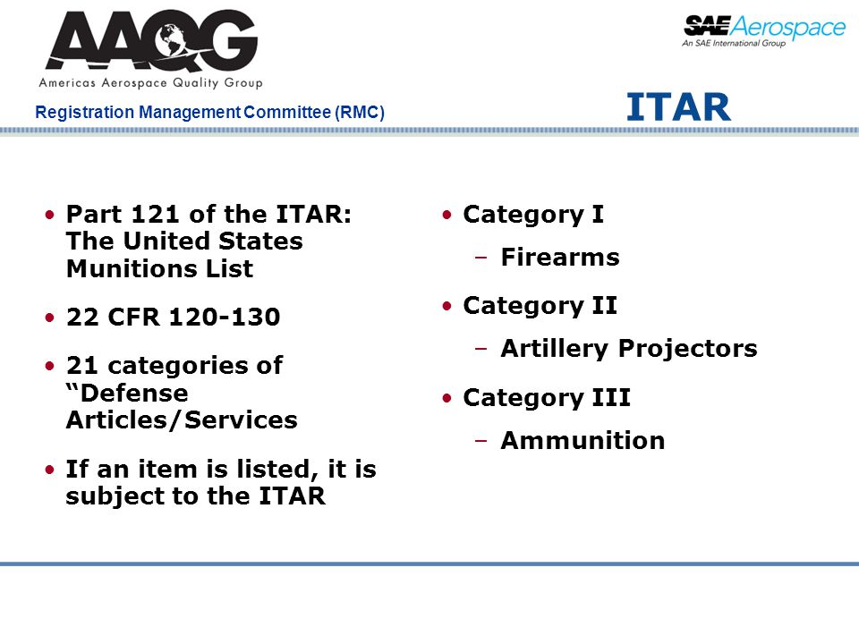 ITAR Part 121 of the ITAR: The United States Munitions List