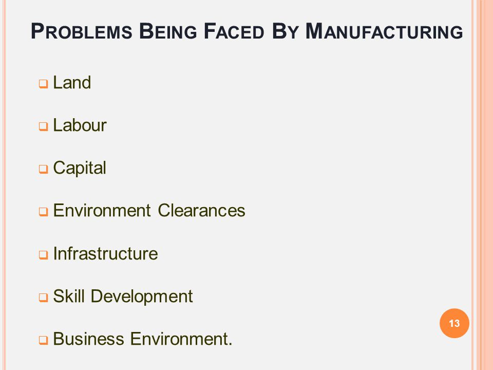 Problems Being Faced By Manufacturing