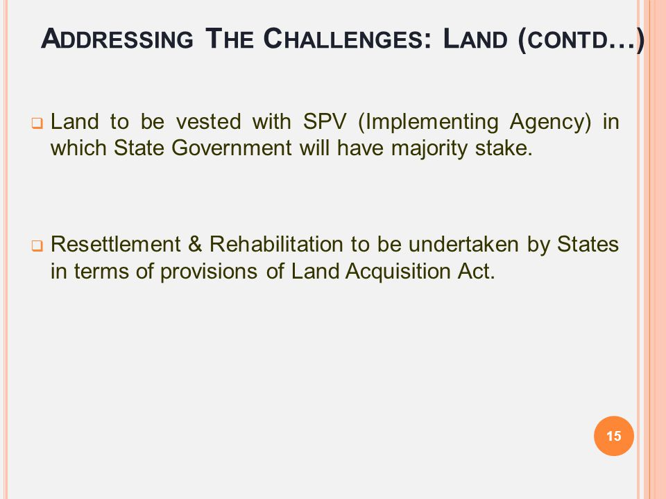Addressing The Challenges: Land (contd…)