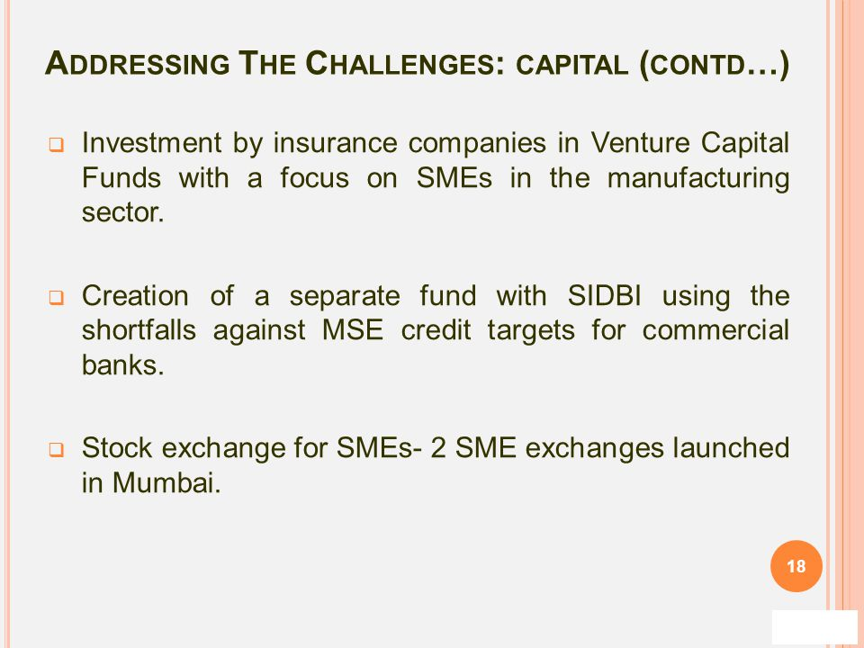 Addressing The Challenges: capital (contd…)