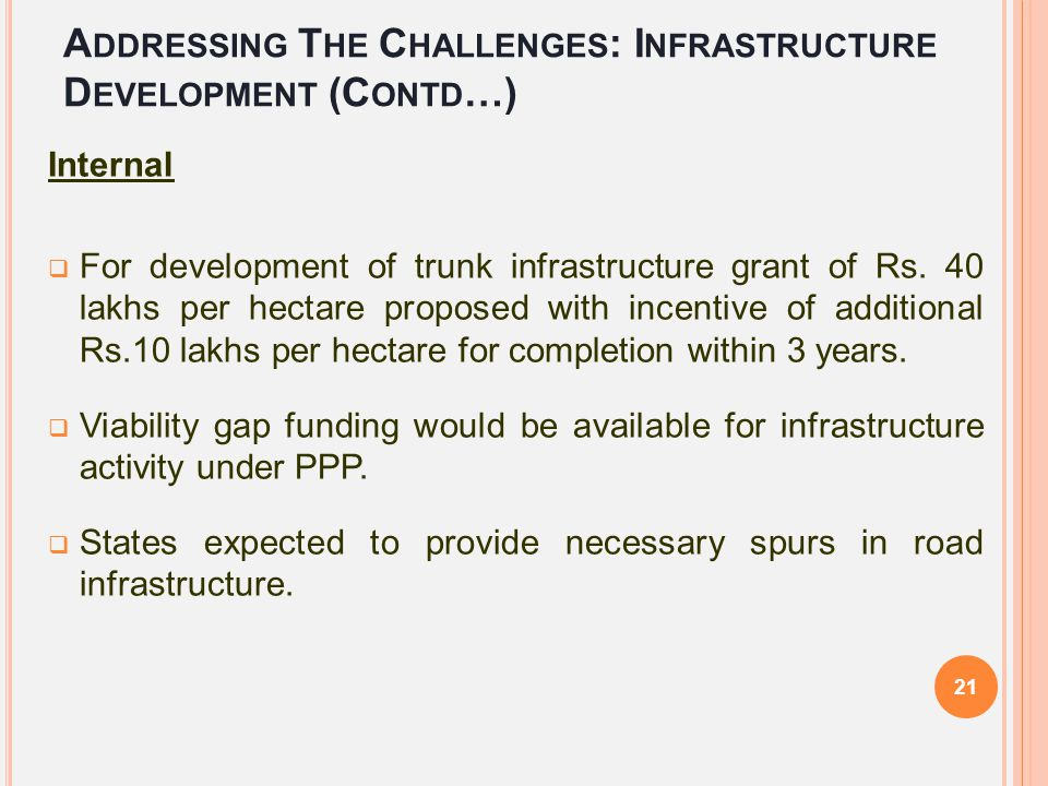 Addressing The Challenges: Infrastructure Development (Contd…)