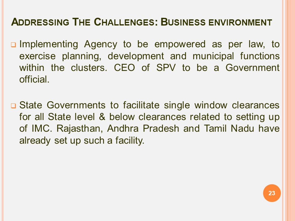 Addressing The Challenges: Business environment