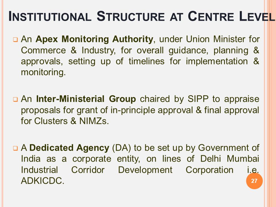 Institutional Structure at Centre Level