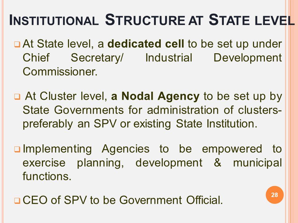Institutional Structure at State level