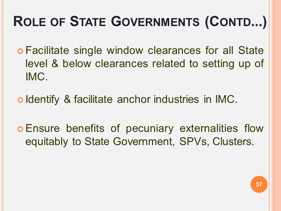Role of State Governments (Contd...)