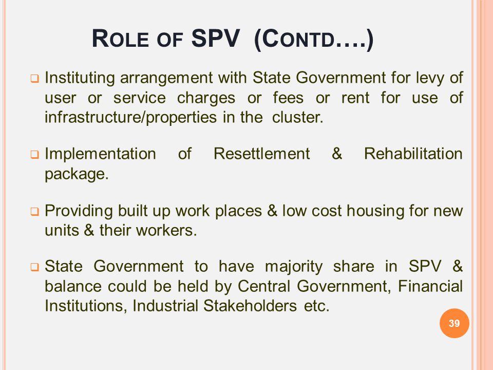 Role of SPV (Contd….)