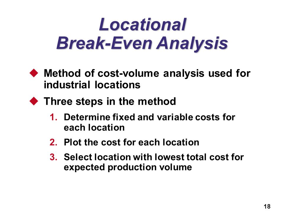 Locational Break-Even Analysis