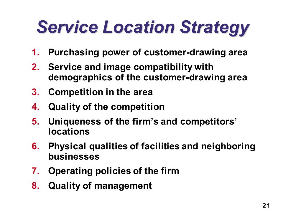 Service Location Strategy