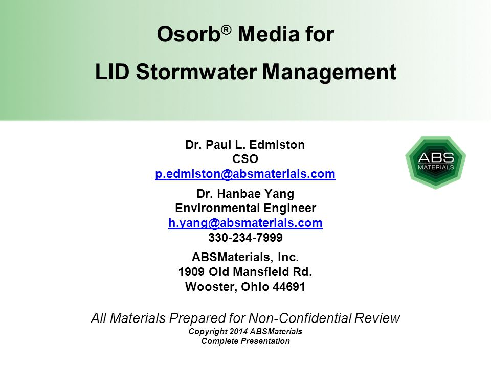 Osorb® Media for LID Stormwater Management