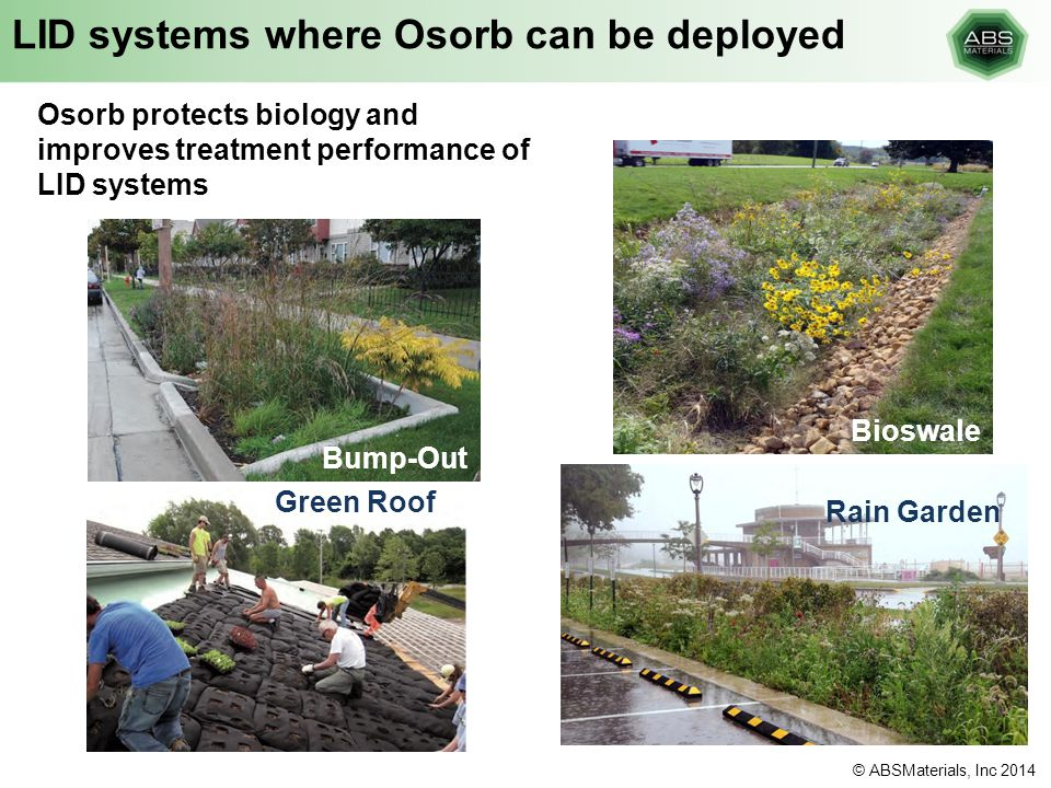 LID systems where Osorb can be deployed