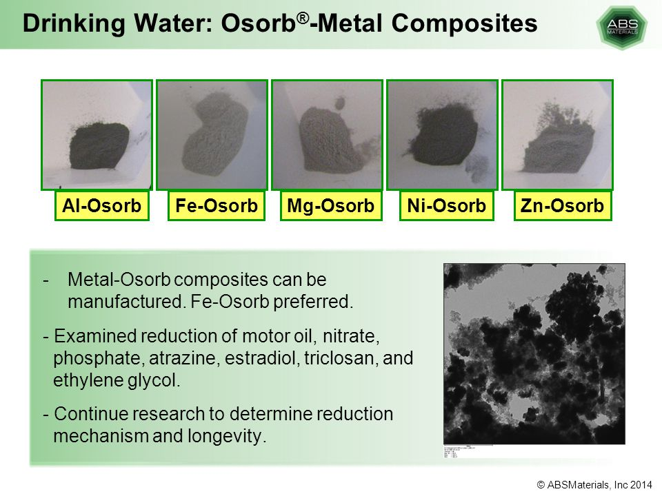 Drinking Water: Osorb®-Metal Composites