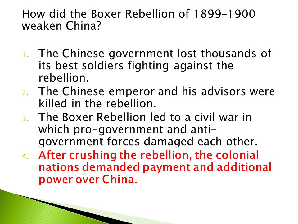 How did the Boxer Rebellion of 1899–1900 weaken China
