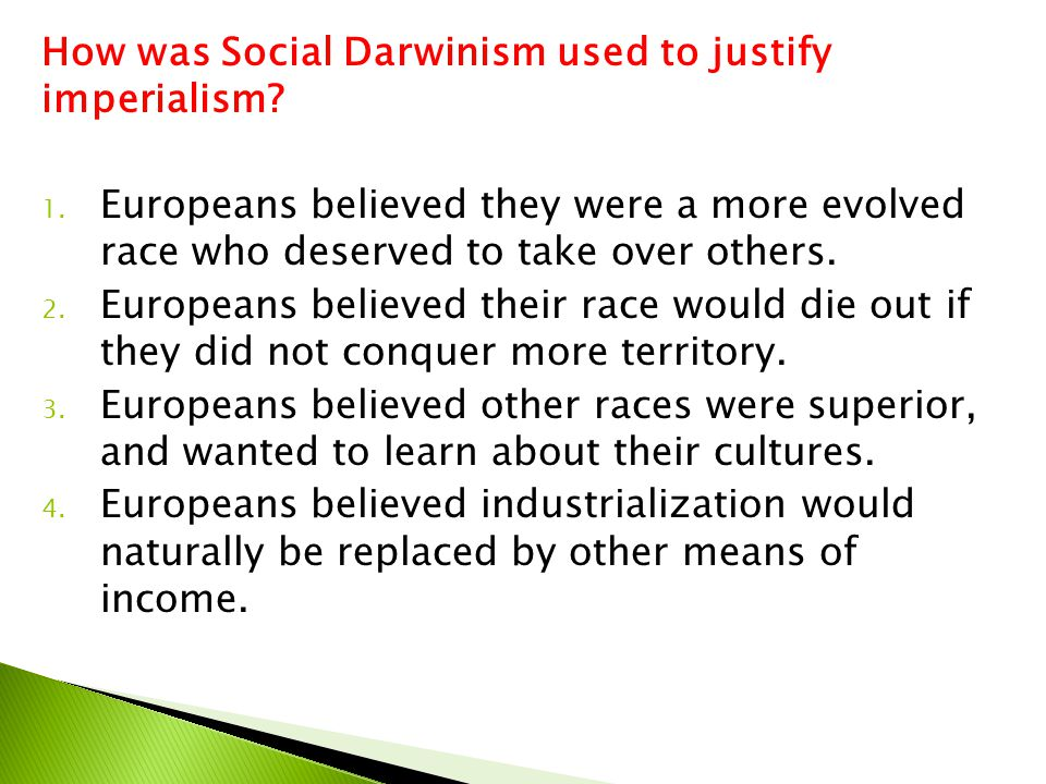 How was Social Darwinism used to justify imperialism