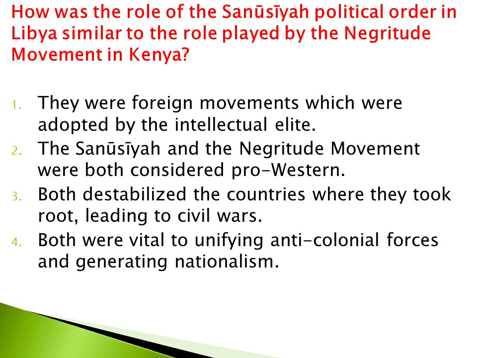 How was the role of the Sanūsīyah political order in Libya similar to the role played by the Negritude Movement in Kenya
