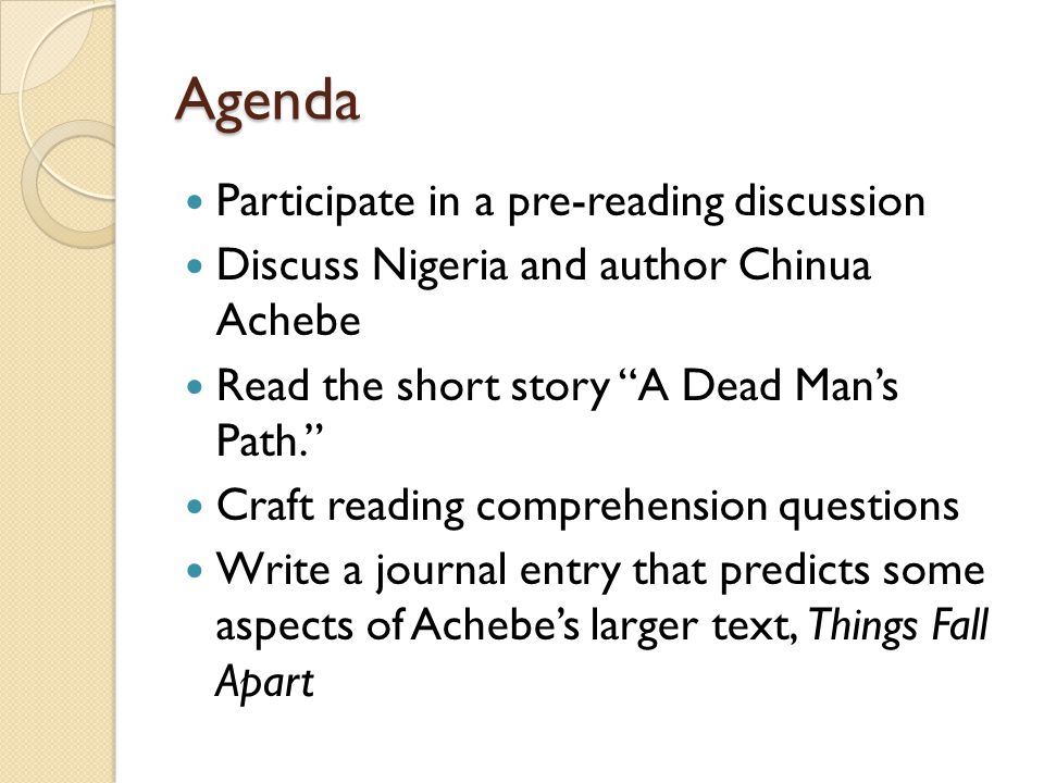 Agenda Participate in a pre-reading discussion