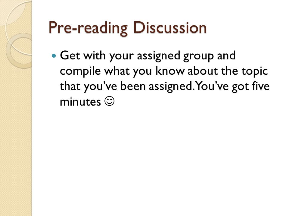 Pre-reading Discussion