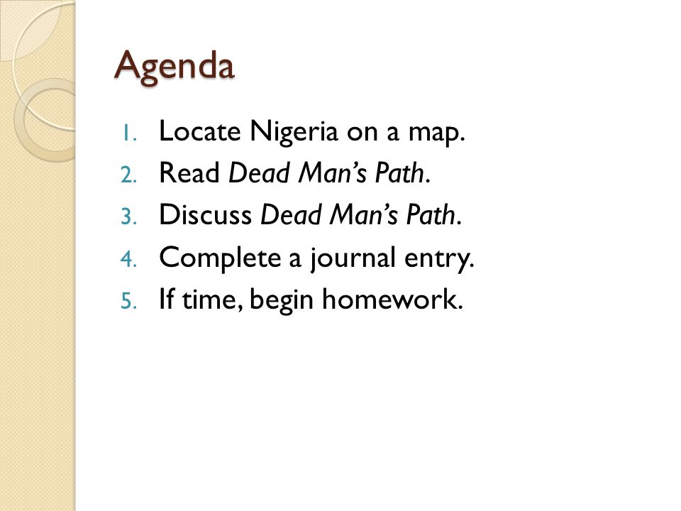 Agenda Locate Nigeria on a map. Read Dead Man's Path.