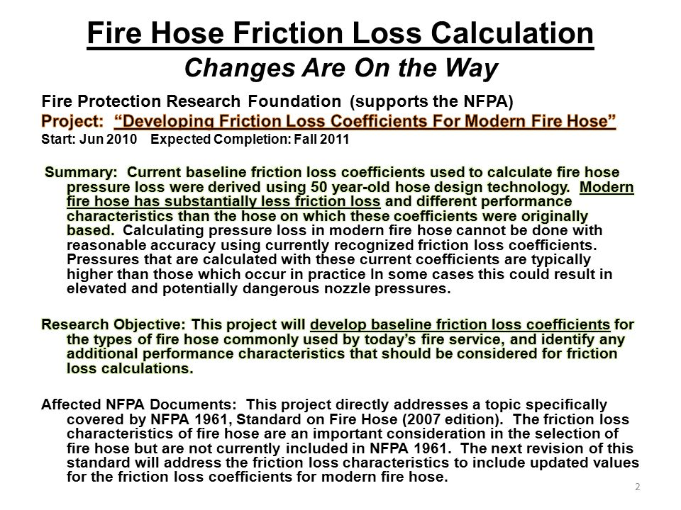 Fire Hose Friction Loss Calculation Changes Are On the Way