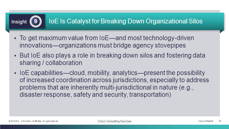 IoE Is Catalyst for Breaking Down Organizational Silos