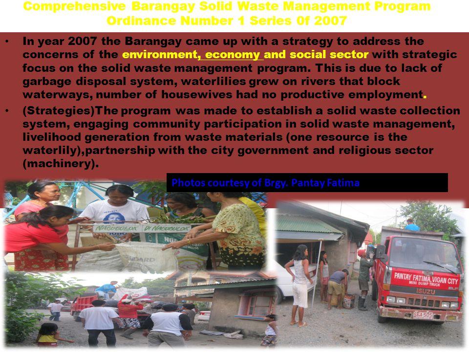 Comprehensive Barangay Solid Waste Management Program Ordinance Number 1 Series 0f 2007