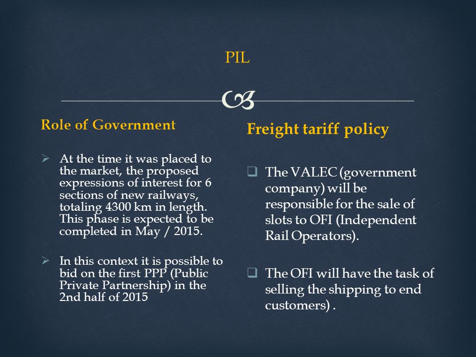 PIL Freight tariff policy Role of Government