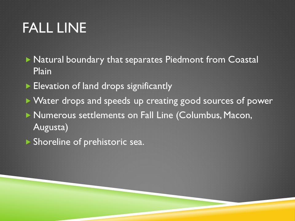 Fall line Natural boundary that separates Piedmont from Coastal Plain