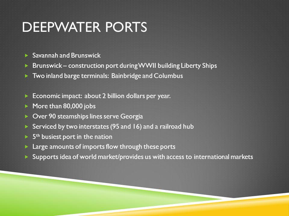 Deepwater ports Savannah and Brunswick