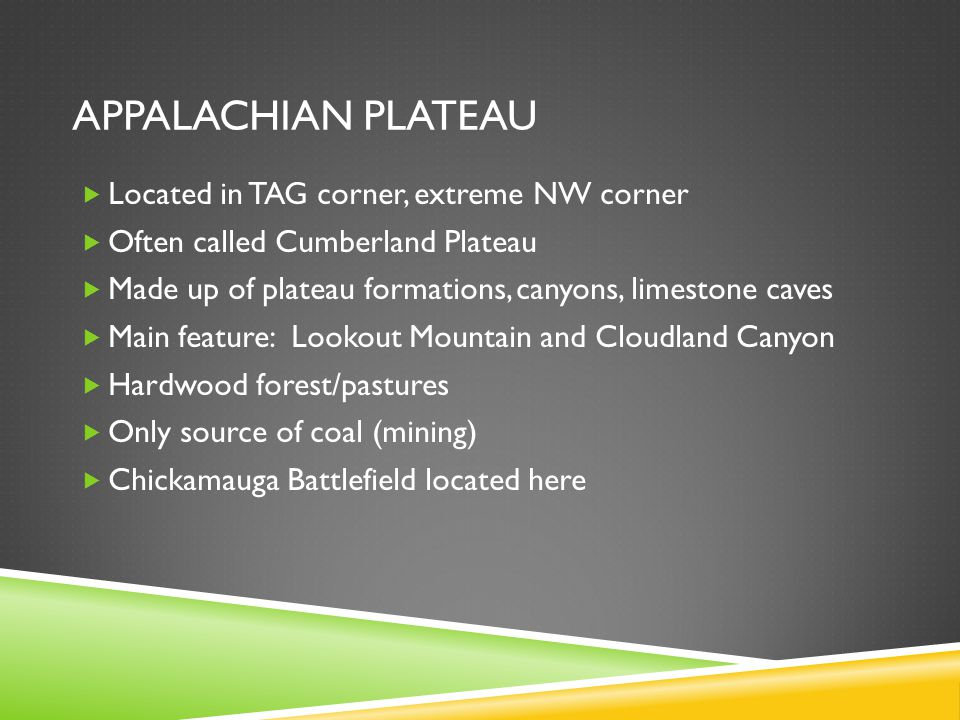 Appalachian plateau Located in TAG corner, extreme NW corner