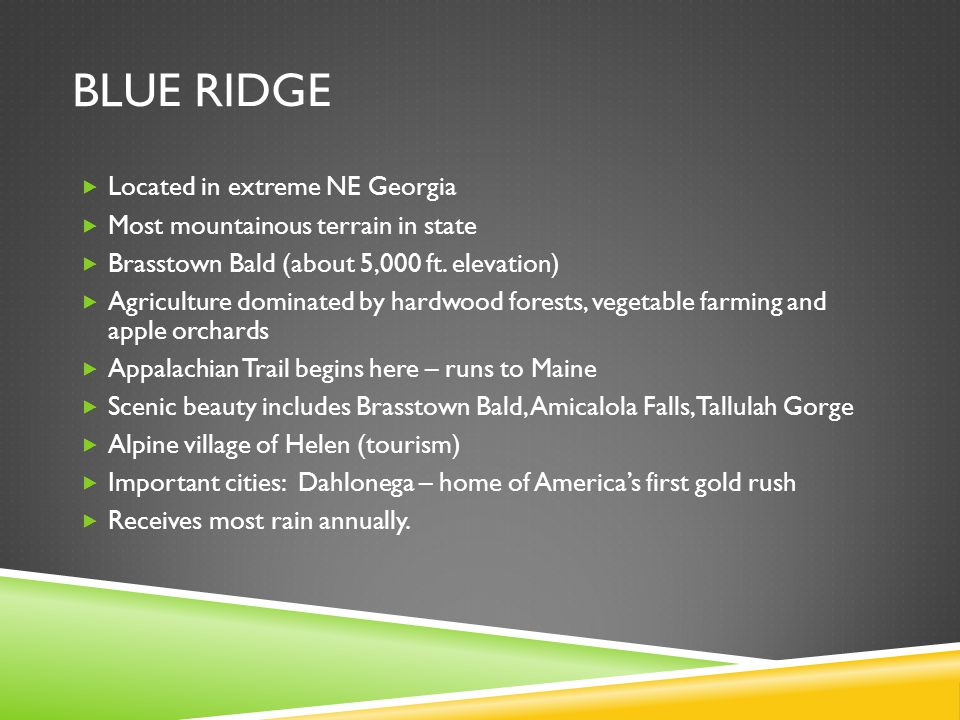 Blue ridge Located in extreme NE Georgia