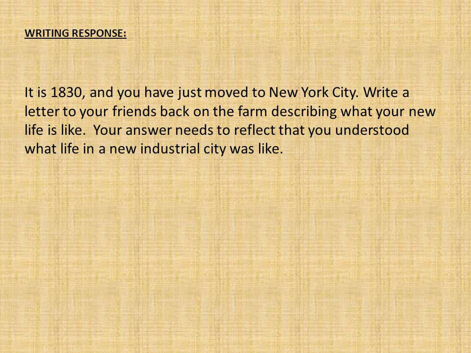 WRITING RESPONSE: