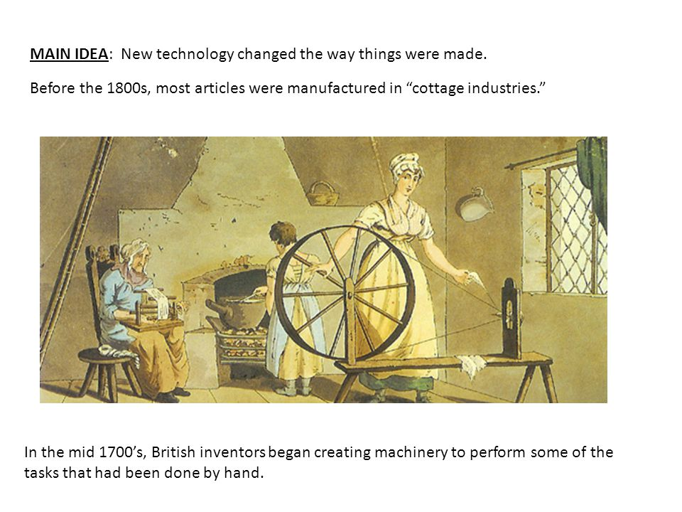 MAIN IDEA: New technology changed the way things were made.