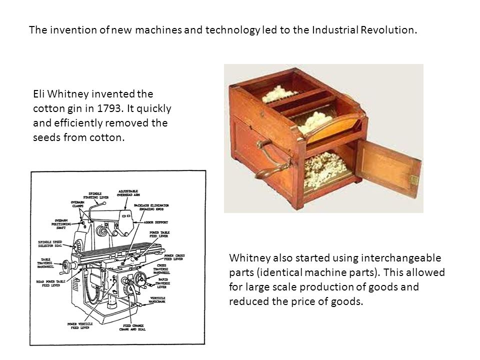 The invention of new machines and technology led to the Industrial Revolution.