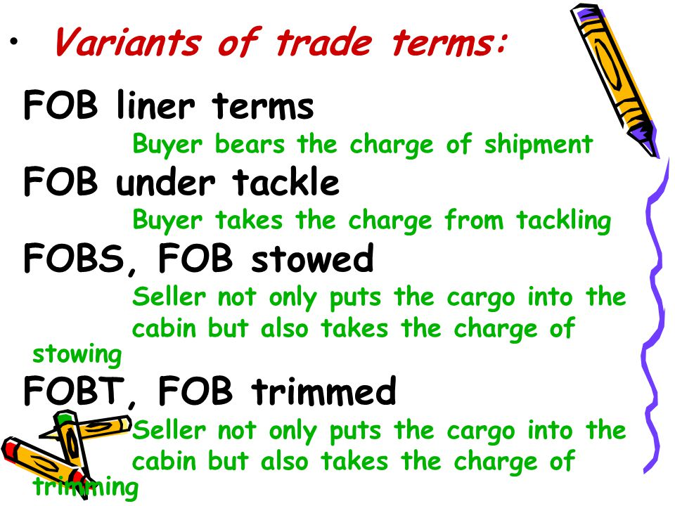 Variants of trade terms: FOB liner terms FOB under tackle