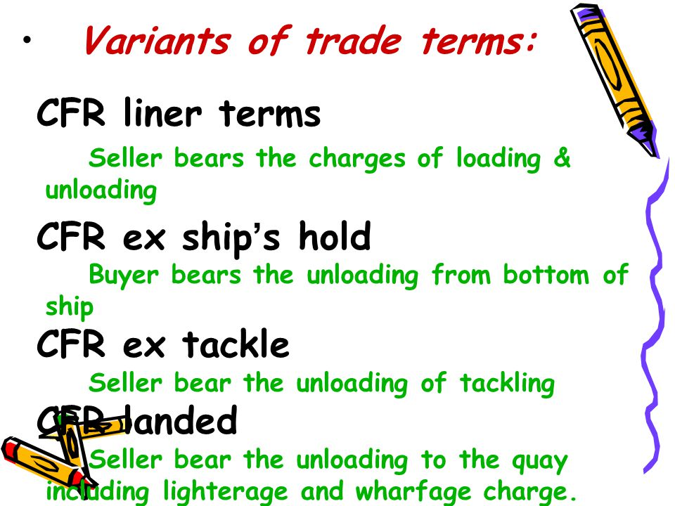 Variants of trade terms: CFR liner terms