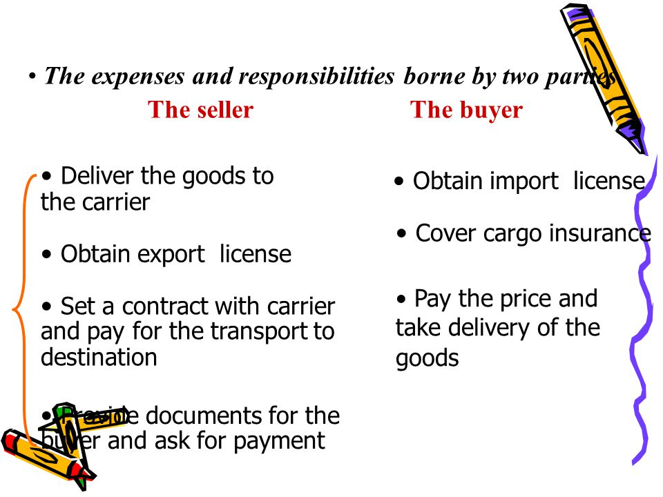 Deliver the goods to the carrier Obtain import license