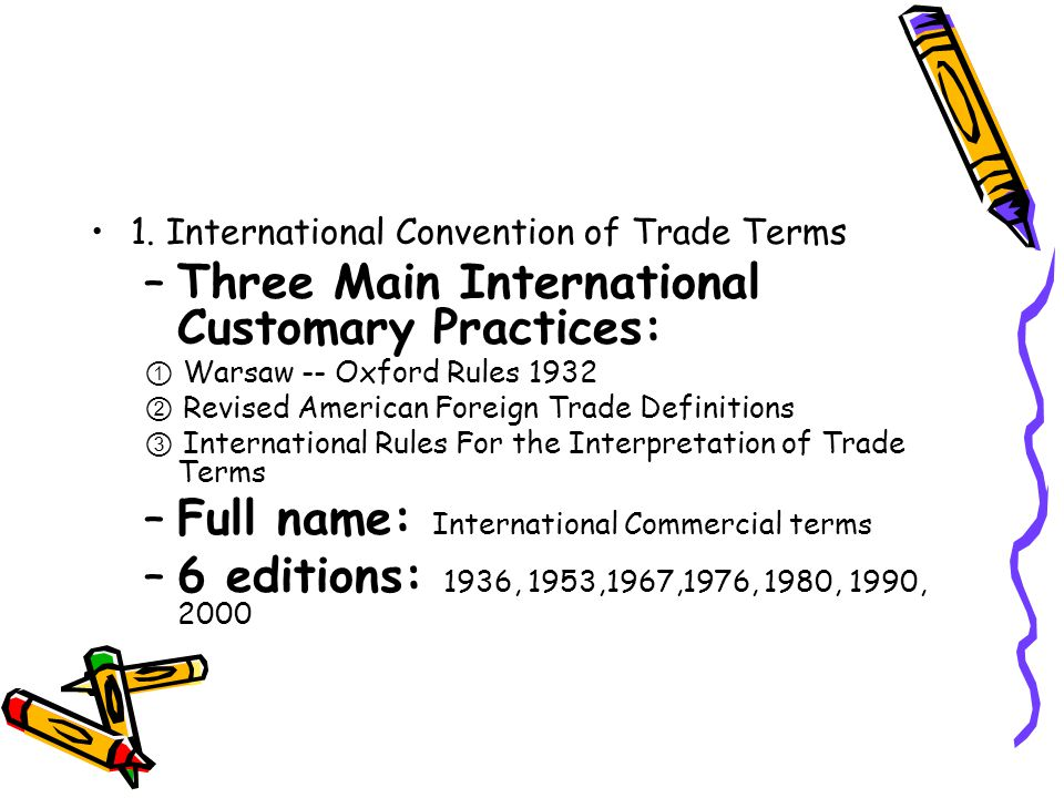 Three Main International Customary Practices: