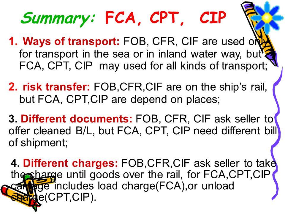 Summary: FCA, CPT, CIP