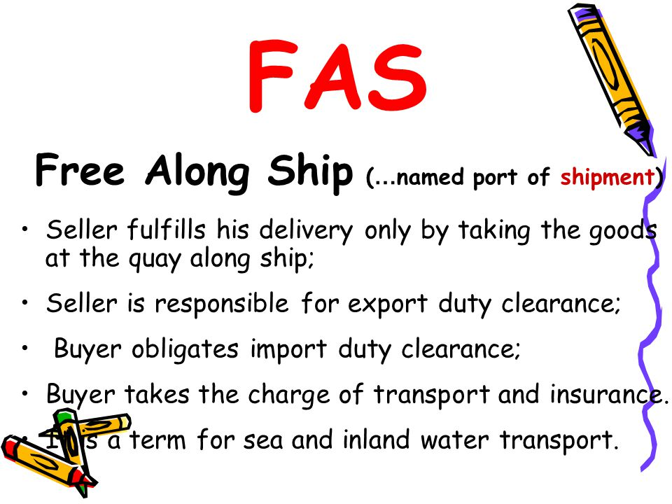 FAS Free Along Ship (…named port of shipment)