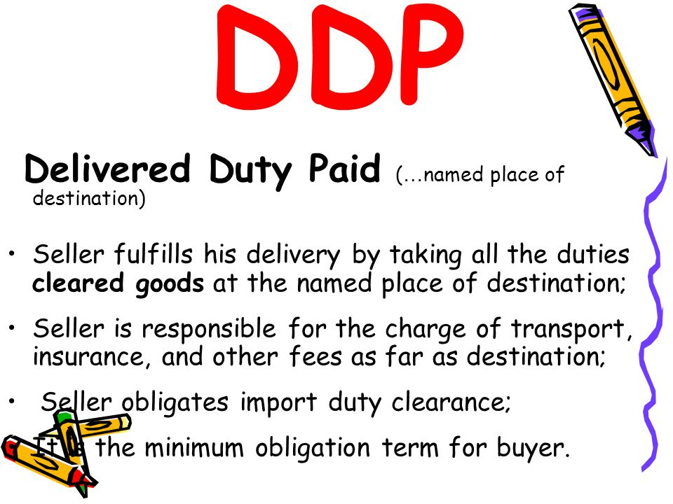 DDP Delivered Duty Paid (…named place of destination)