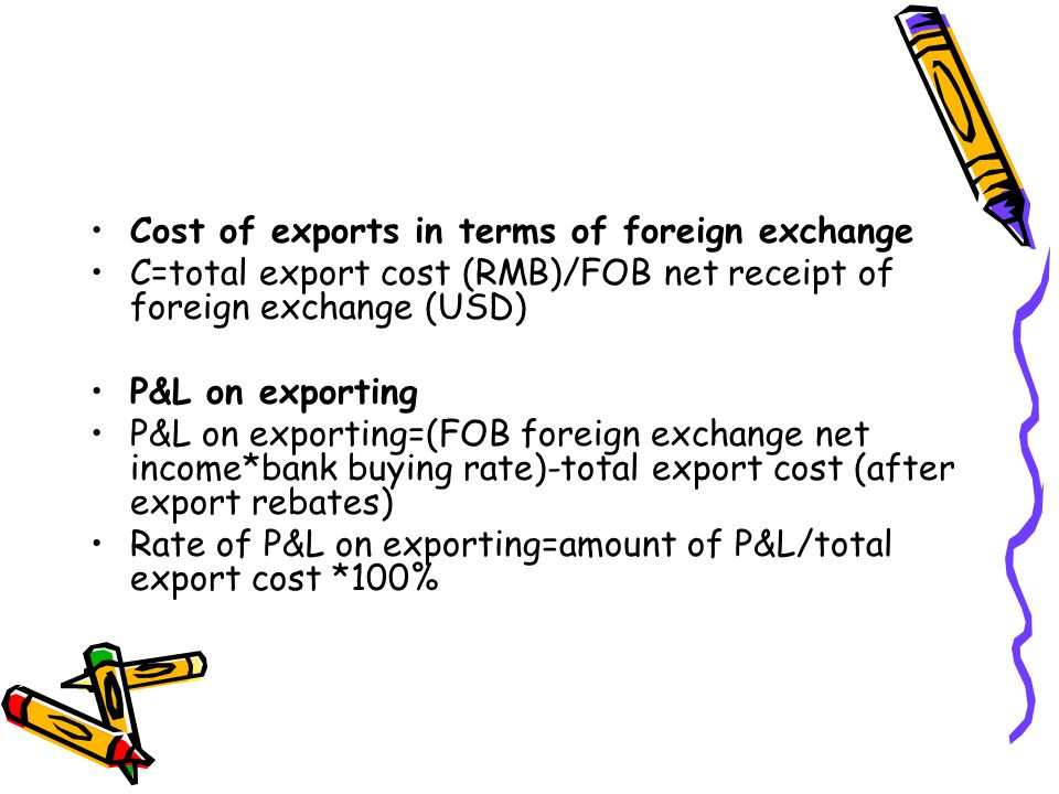 Cost of exports in terms of foreign exchange