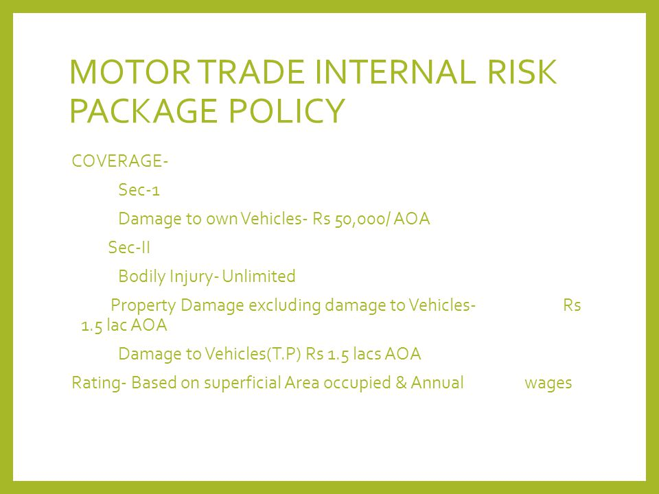 MOTOR TRADE INTERNAL RISK PACKAGE POLICY