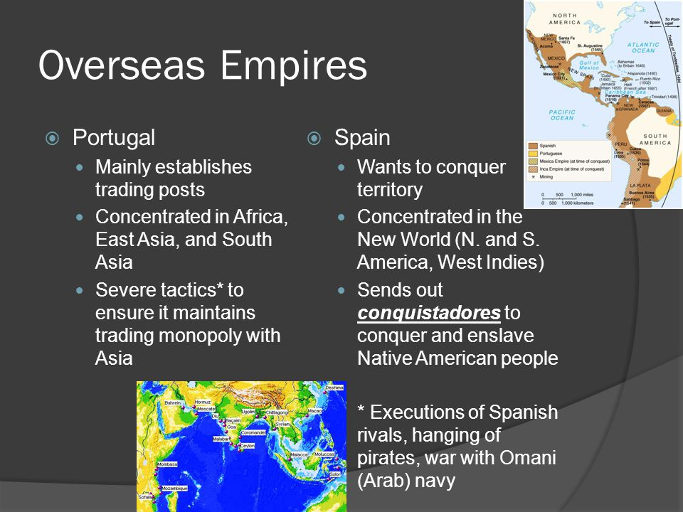 Overseas Empires Portugal Spain Mainly establishes trading posts
